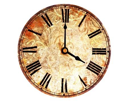 horloge ancienne: horloge Vintage sur fond blanc Banque d'images
