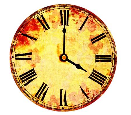 vintage clock on white background Stock Photo - 8211427