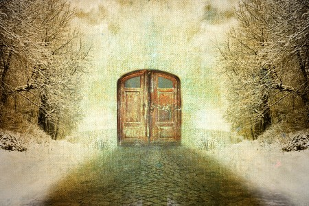abstract surrealism vintage winter motive photo