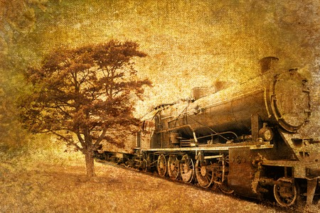 railway history: abstract vintage of steam train