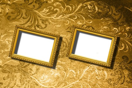 rusty wooden frames on abstract background photo