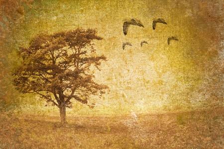 golden dusk: tree motive on old vintage background