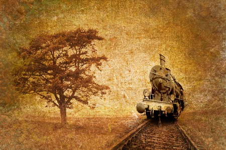 railway history: wild west theme with steam engine rail, vintage abstract Stock Photo