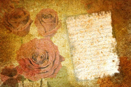 abstract vintage stationery paper with flower motives photo