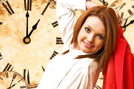 beautiful girl on clocks background lunch time