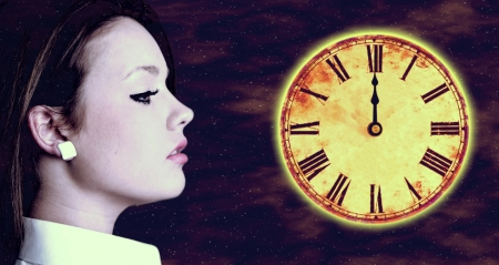 beautiful girl on time and space background Stock Photo