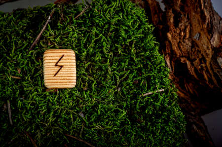 Raido rune, inverted position. Rune carved from wood. The rune is lying on moss and bark. The runic symbol is burnt on a piece of wood.