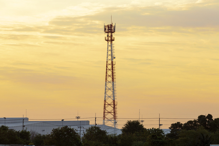 telecommunication tower and morning light