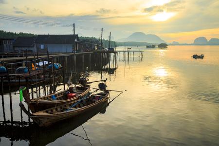 landscape of boat in fisher man village