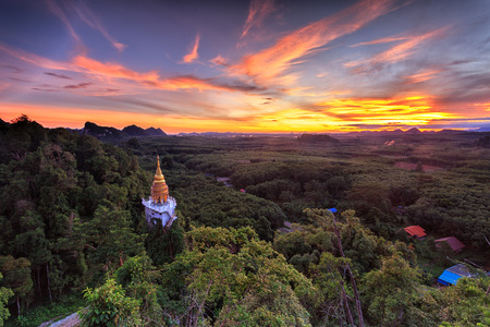 landscape of sunrise and pagoda in forest