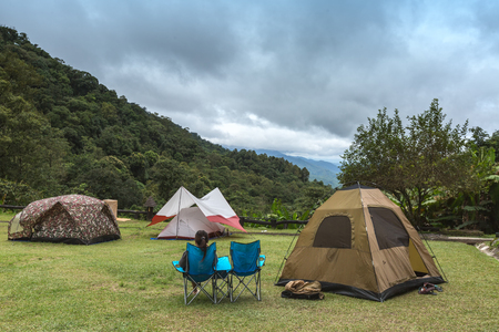 Tourist camping in natural forest and mountain