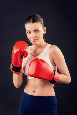 girl in boxing gloves photo