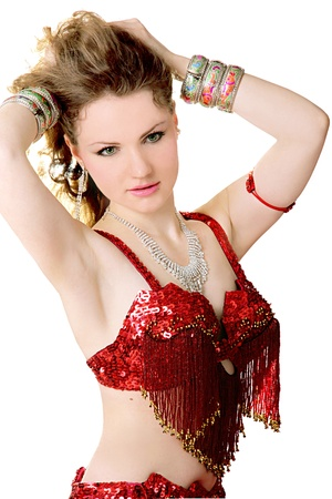 Girl in costume for belly dancing