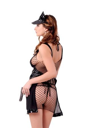 pistolas: Modelo en ropa interior sexy