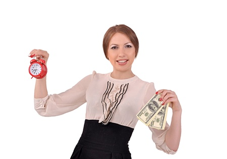 Woman with an alarm clock and money Stock Photo - 20312120