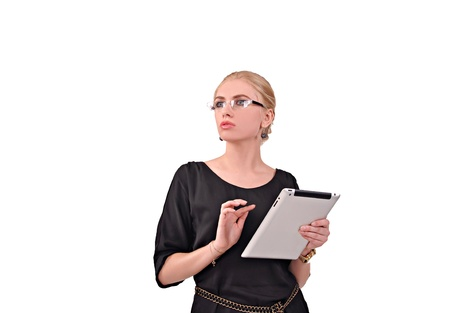 Girl in glasses working with the tablet, advertising photo