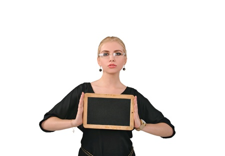 message board: Girl holding a placard, message board Stock Photo