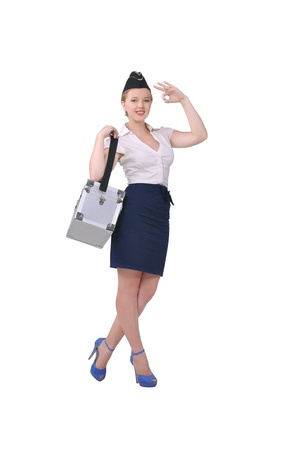 Stewardess shows that all is well, white background photo