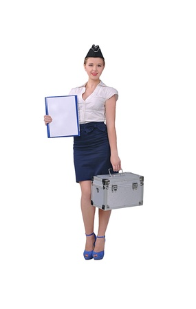 Stewardess with suitcase in hand photo