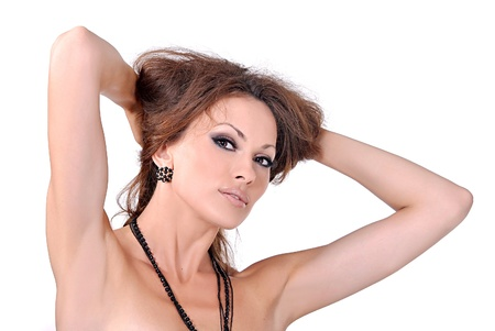 armpits: face of a young girl, beautiful make-up and fashion