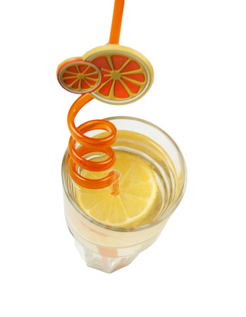 tubule: Cocktail decorate by tubule with orange  Stock Photo