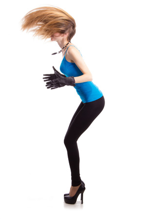 girl in black gloves Фото со стока