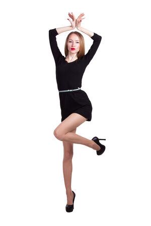 Gorgeous blonde in black dress Фото со стока