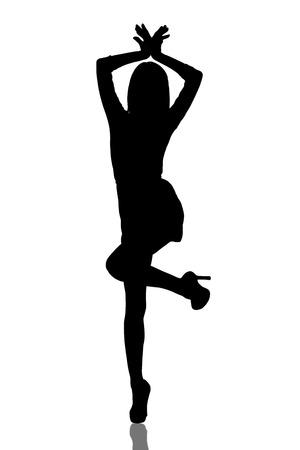 Dancing girl silhouette Фото со стока