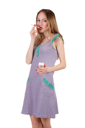 Housewife with cigarette Фото со стока