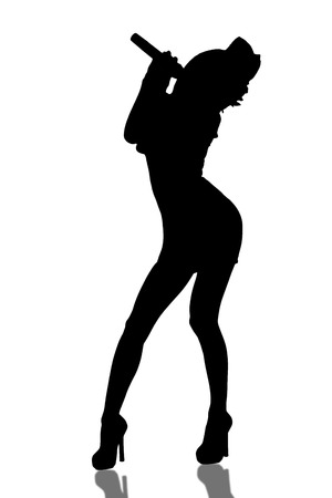 Singing girl silhouette