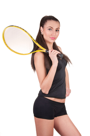 Tennis player isolated on white Фото со стока