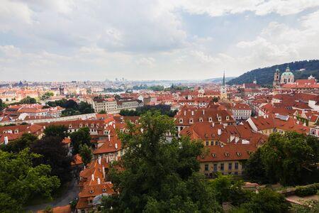 praha: Red roofs of Praha city, Czech republic