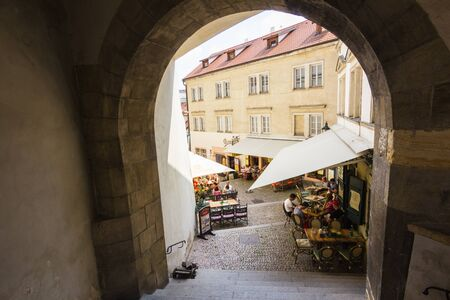 praha: View of outdoor cafes in Praha, Czech republic Stock Photo