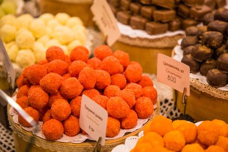 Handmade chocolate sweets in Lvivs shop, Ukraine Stock Photo