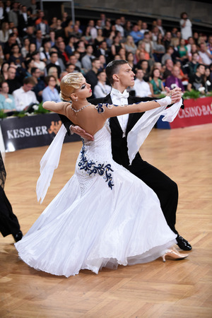 Stuttgart, Germany - August 16,2014: An unidentified dance couple in a dance pose during Grand Slam Standart at German Open Championship, on August 16, in Stuttgart, Germany