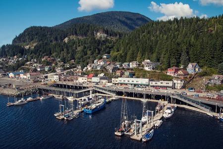 Aerial view of small port city Ketchikan.alaska photo