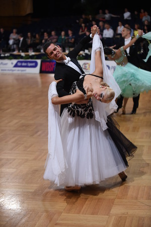 grand slam: Stuttgart, Germany - August 16,2014: An unidentified dance couple in a dance pose during Grand Slam Standart at German Open Championship, on August 16, in Stuttgart, Germany