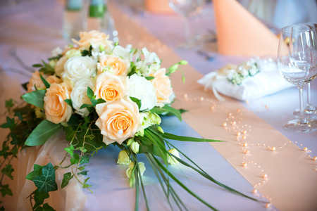 Flower bouquet  on wedding dining table