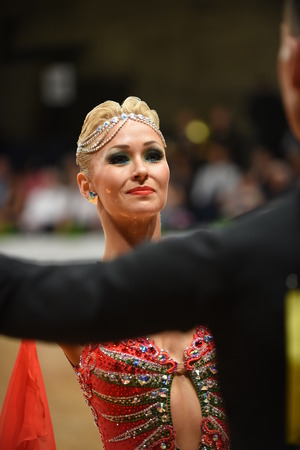 grand slam: Stuttgart, Germany - August 11, 2015: An unidentified dance couple in a dance pose during Grand Slam Standart at German Open Championship, on August 11, in Stuttgart, Germany