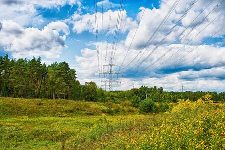 agrar: Beautiful wide landscape view of green field with trees and one big high voltage column with cables on cloudy blue sky natural background, horizontal picture Stock Photo