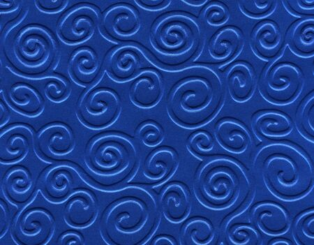 absract art: Beautiful relief backdrop of curl empty blue color wall for interior or exterior of building with no people