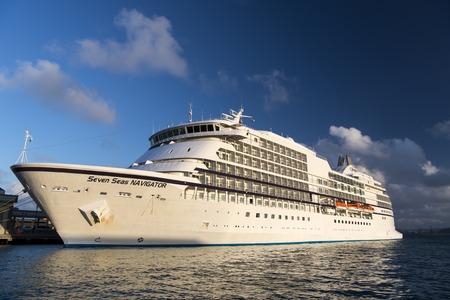 cruiseship: San Juan, Puerto Rico - February 12, 2016: Large luxury cruise ship Seven Seas Navigator of Regent Seven Seas Cruise lines at the port of Puerto Rico