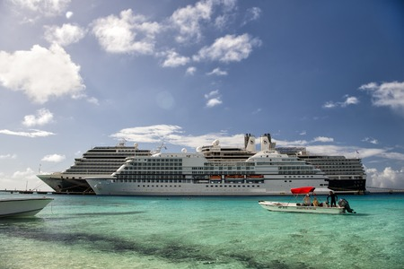 Grand Turk, Grand Turk and Caicos Island - December 29, 2015: Two Cruise Ships Docked in Grand Turk Islands, Caribbean Redakční