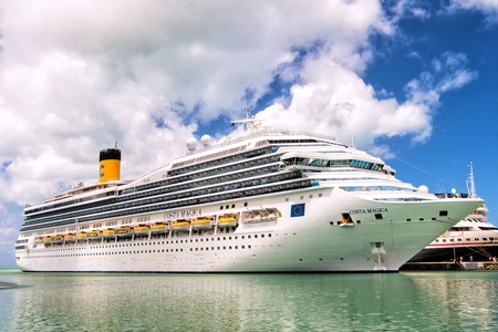 St.Johns, Antigua-March 05, 2016: Large luxury cruise ship Costa Magica docked at post of st.Johns, Antigua