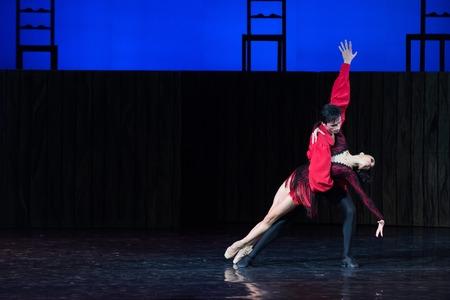 showed: KIEV, UKRAINE - June 11, 2015: Kyiv National Opera Theatre showed the ballet Carmen Suite with Oleksandr Stoyanov And Katerina Kukhar