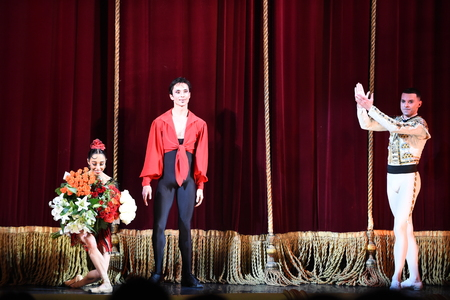 KIEV, UKRAINE - June 11, 2015: Kyiv National Opera Theatre showed the ballet Carmen Suite with Oleksandr Stoyanov And Katerina Kukhar and Artur Gaspar
