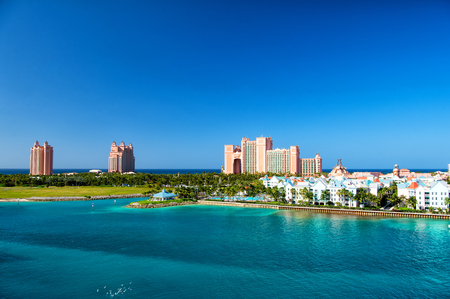 NASSAU, BAHAMAS - March 9. 2016: The Atlantis Paradise Island resort, located in the Bahamas . The resort cost $800 million to bring to life the myth and legend of the lost city of Atlantis.