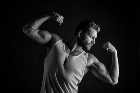 Young Handsome Bearded Man Macho With Muscular Hands And Beard ...