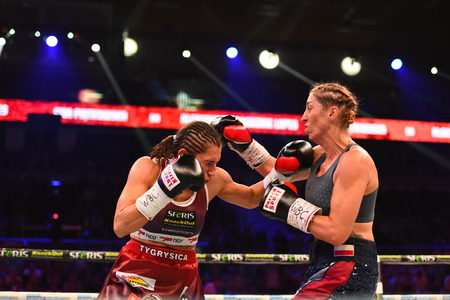 Gdansk, Poland -September 17, 2016: boxing fight between Ewa Piatkowska and Aleksandra Magdziak Lopes for WBC Womens World Superwelterweight Championship Editorial