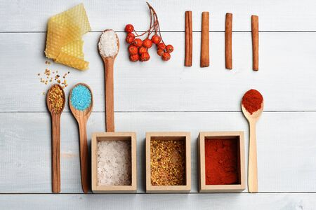 Set of ingredients for cooking of salt, cinnamon, guelder rose, paprika, spices, wooden spoons on vintage wooden white background Stock Photo
